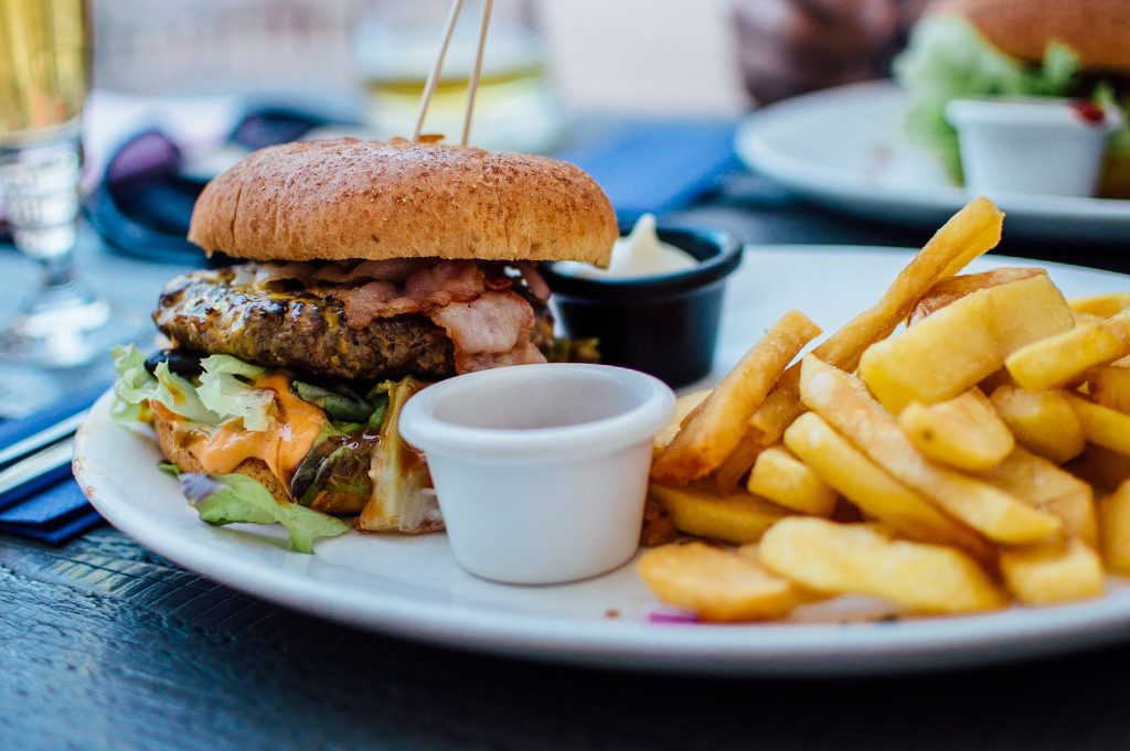 Juicy burger with french fries